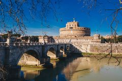 Saint Angelo Castle and Saint Angelo Bridge over Tiber River in Stock Photography