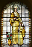 Saint Ann. Stained glass church window stock images