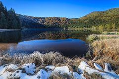Saint Anna Lake. Autumn landscape at Saint Anna Lake which is located in a volcanic crate from Romania Royalty Free Stock Photos