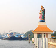 Saint Anna statue by the river Royalty Free Stock Photos