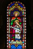 Saint Anna and the Virgin Mary. Stained Glass in the Cathedral of Monaco depicting Saint Anna and the Virgin Mary royalty free stock image