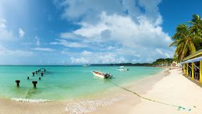 Saint Anne beach, Guadeloupe, French West Indies,. Panoramic view stock photo