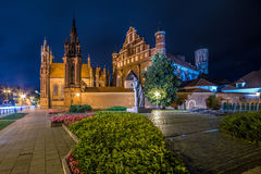 Saint Anne Church in Vilnius, Lithuania. And monument to the poet Adam Mickiewicz Royalty Free Stock Images