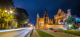 Saint Anne Church in Vilnius, Lithuania. Night scene of lovely Europe town, wide angle Stock Photography