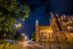 Saint Anne Church in Vilnius, Lithuania. Night scene of lovely Europe town, wide angle Stock Photos
