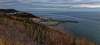 Saint Anne des monts harbour, on the Saint Laurent river Quebec royalty free stock image