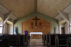 `Saint Anthony` Catholic Church in Nikko. A simple wooden church. Taken in Nikko,. February 2018 stock image