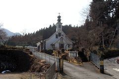 `Saint Anthony` Catholic Church in Nikko. A simple wooden church. Taken in Nikko, stock photo