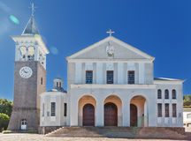 Saint Anthony Church in Nova Padua Brazil. The facacde and the white tower with bells of Saint Anthony Church in Nova Padua, Rio Grande do Sul, south of Brazil Stock Photos