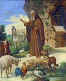 Saint Anthony the Great. Painting on the church altar stock illustration