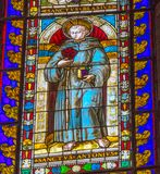 Saint Anthony Great Stained Glass Cathedral Church Siena Italy. Completed from 1215 to 1263. Glass from 1288. Saint Anthony royalty free stock photos