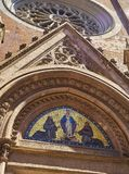 Saint Anthony of Padua church. Beyoglu district. Istanbul, Turkey. Mosaic of the Virgin Mary above the main entrance door of the principal facade of the Saint stock images