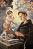 Saint Anthony of Padua. Painting on the church altar Royalty Free Stock Photo