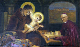 Saint Anthony of Padua. Painting on the church altar Stock Images