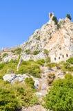 Saint antigo Hilarion Castle na região de Kyrenia, Chipre do norte A fortaleza, originalmente monastério, do século X foto de stock