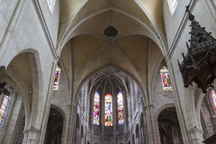 Saint Antoine church, Compiegne, Oise, France. COMPIEGNE, FRANCE, JULY 16, 2016 : stained glass and details of saint Antoine church, july 16, 2016 in Compiegne stock photography