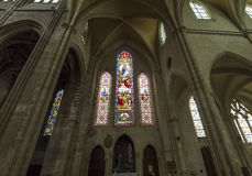 Saint Antoine church, Compiegne, Oise, France. COMPIEGNE, FRANCE, JULY 16, 2016 : stained glass and  details of saint Antoine church, july 16, 2016 in Compiegne Royalty Free Stock Photos