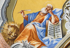 Saint Anton palace - Saint Mark the Evangelist. SAINT ANTON, SLOVAKIA - FEBRUARY 26, 2014: Saint Mark the Evangelist fresco from ceiling of chapel in Saint Anton Stock Photography