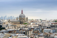Saint-Augustin Church with La Defense in The Background Stock Photography