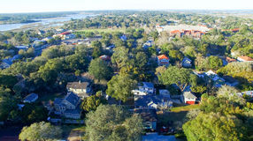 Saint Augustine, Florida. Aerial view at dusk.  royalty free stock photos