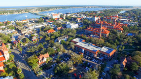 Saint Augustine, Florida. Aerial view at dusk Royalty Free Stock Photo