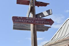 Saint Augustine History Museum Sign, St Augustine, Florida imagem de stock royalty free