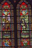Saint Augustus Angels Stained Glass Notre Dame Paris France fotografia de stock