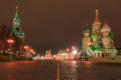 Saint Baisil`s Cathedral in Moscow at night. Saint Baisil`s Cathedral at the Red Square and Kremlin in Moscow at night stock image