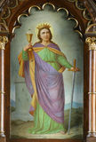 Saint Barbara. Was an early Christian saint and martyr.  is often portrayed with miniature chains and a tower. As one of the Fourteen Holy Helpers, Barbara stock photo