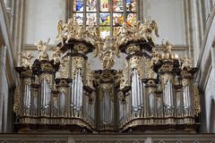Saint Barbara church - Kutna Hora. Saint Barbara church - Organ Loft and Stained glass in the church Royalty Free Stock Photos