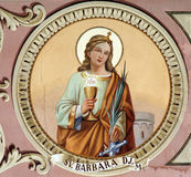 Saint Barbara. Fresco painting in the church Royalty Free Stock Image