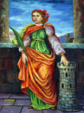 Saint Barbara. Painting on church altar Royalty Free Stock Images