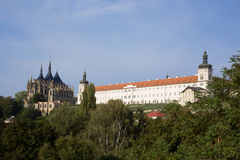 Saint Barbara's church and former Jesuit College in Kutna Hora. Viw of the Saint Barbara's church and the building of the former Jesuit College in town Kutna Royalty Free Stock Photo