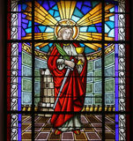 Saint Barbara. Stained glass church window Royalty Free Stock Photo