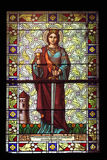 Saint Barbara. Stained glass church window Royalty Free Stock Image