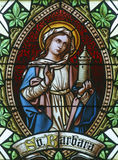 Saint Barbara. Stained glass church window Royalty Free Stock Images