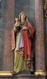 Saint Barbara. Statue at the altar in the church of Saint Catherine of Alexandria in Krapina, Croatia Stock Images