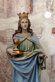 Saint Barbara. Statue on the church altar Stock Image
