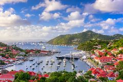 Saint Barthelemy skyline. And harbor in the West Indies of the Caribbean Stock Images