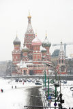 Saint Basil Cathedral covered by snow Stock Photography
