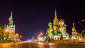 Saint Basil Cathedral and Kremlin in Moscow Stock Image