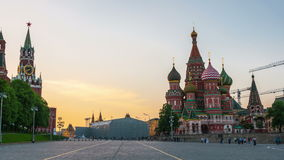 Saint Basil Cathedral in Moscow at sunset stock video footage