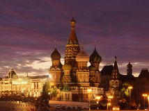 Saint Basil Cathedral in the night Royalty Free Stock Image