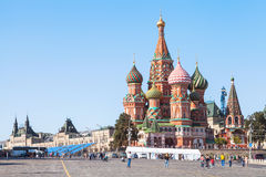 Saint Basil Cathedral on Red Square in afternoon Stock Photos