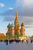 Saint Basil Cathedral on the Red Square in Moscow. Tourists on the Red Square in Moscow,  Saint Basil Cathedral Royalty Free Stock Photo