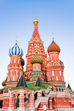 Saint Basil Cathedral on Red square, Moscow at sunset Royalty Free Stock Images