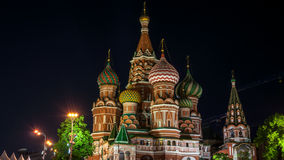 Saint Basil Cathedral on Red Square at night, Moscow stock video footage