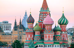 Saint Basil Cathedral at Red Square. Sunset in Moscow, Russia Stock Photo