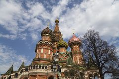 Saint Basil cathedral Temple of Basil the Blessed, Red Square, Moscow, Russia stock photography