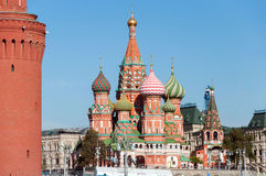 Saint Basil Cathedral and Vasilevsky Descent of Red Square in Moscow Kremlin, Russia Stock Images